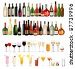 Set of different drinks and bottles. Vector illustration. - stock