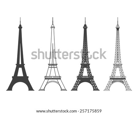 Set of different Eiffel Tower in Paris Vector Silhouette. Landmark and structure - stock vector