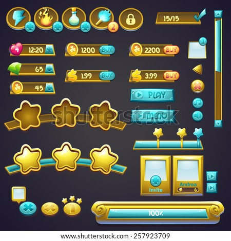 Set of different elements in a cartoon style, progress bars, boosters buttons and other elements - stock vector