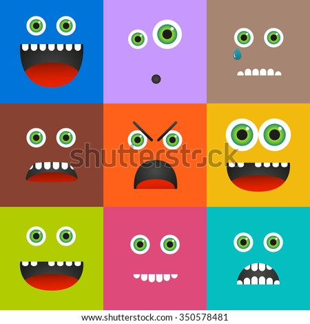 Set of 9 different emoticons in square shapes and solid colors - stock vector