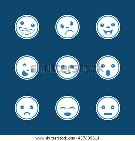 Set of different emotions icons - stock vector
