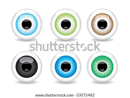 Set of 6 different eye balls vector illustration - stock vector