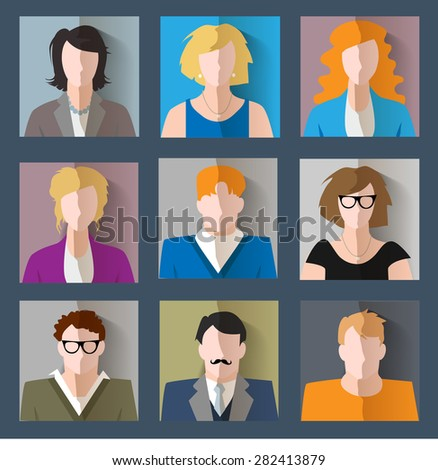 Set of different faces. Vector illustration - stock vector