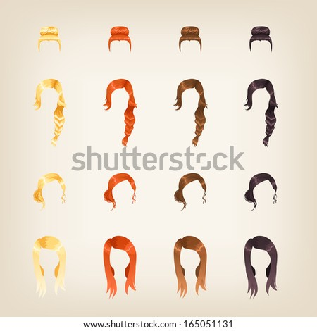 Set of different female hairstyles in 4 colors - stock vector