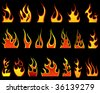Set of different fire patterns for design use - stock vector