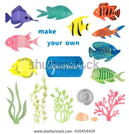 Set of different fishes and decorations for making your own aquarium. Watercolor vector illustration. Tropical fish and plants isolated on white background. Colorful icons.  - stock vector