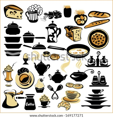 Set of different food - bread, pie, biscuit, cakes, eggs, omelette, cheese, milk, pizza, coffee, tea, beer. Set of tableware - dish, plate, cup, pan, kettle, tureen, mug - stock vector