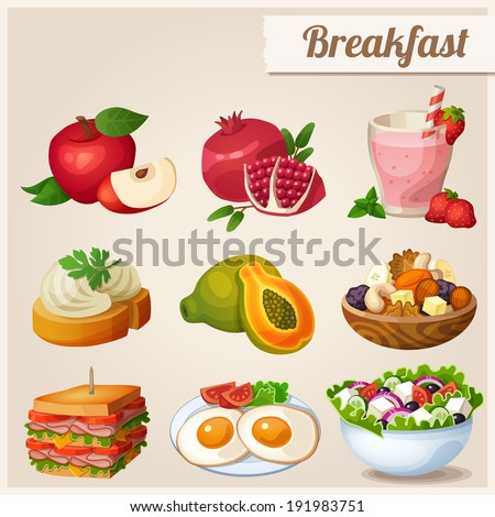 Set of different food icons. Breakfast.  Red apple, pomegranate, glass of strawberry smoothie, sandwich with cream cheese, papaya, fried eggs, dried fruits, sandwich with bacon, greek salad.