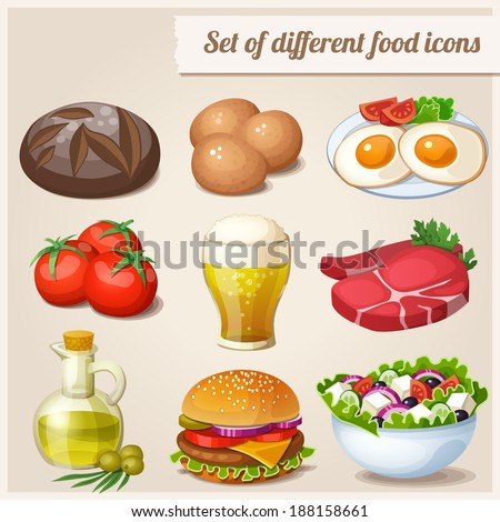 Set of different food icons.  Loaf of bread, raw eggs, fried eggs, fresh meat, glass of beer, tomatoes, olive oil in bottle, hamburger, greek salad - stock vector
