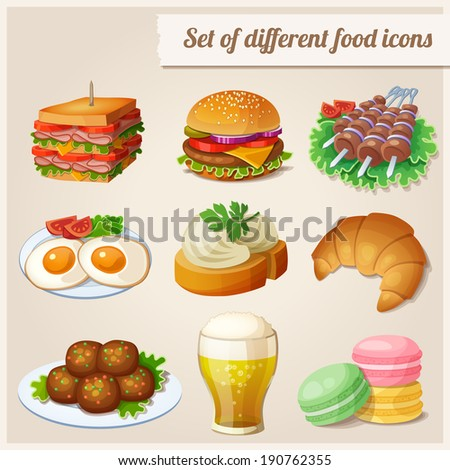 Set of different food icons.  Sandwich with bacon, fried eggs, glass of beer, humburger, shashlik, sandwich with cream cheese, croissant, macaroons, meatballs. - stock vector