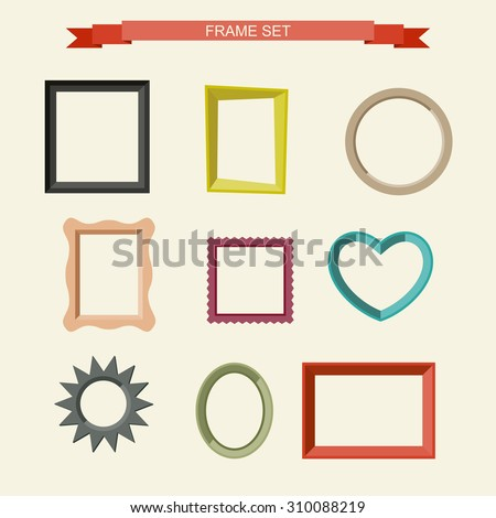 Set of different frames in flat style. Vector illustration - stock vector