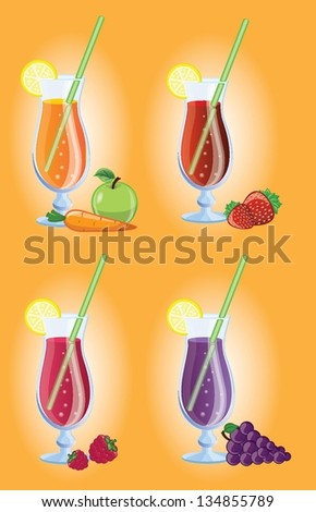 Set of different Fruit cocktails, vector picture