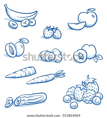 Set of different fruits and vegetables, e.g, for baby food. With, banana, strawberry, apple, peach, plum, carrot, zucchini, potato. Hand drawn cartoon vector illustration. - stock vector