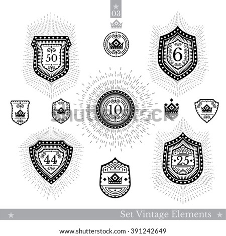 Set of different geometric shields with light ray. Hipster style templates for business signs, labels, logos, identity, badges, apparel, shirts, stickers and other branding objects - stock vector