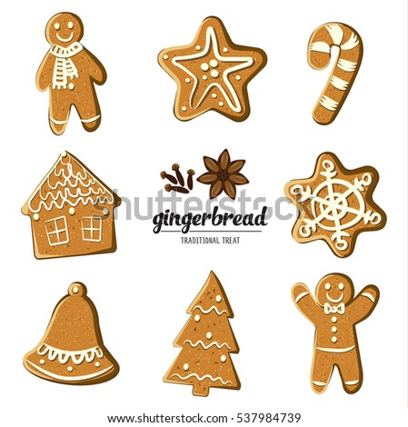 Set of different gingerbreads: man, Christmas tree, bell, star,snowflake,candy cane and house . Vector illustrated Christmas treats collection. Homemade cookies on white background