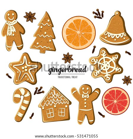 Set of different gingerbreads: man, Christmas tree, bell, star,snowflke,candy cane, house and citrus fruits slices. Vector illustrated Christmas treats collection. Homemade cookies and fragrant spices
