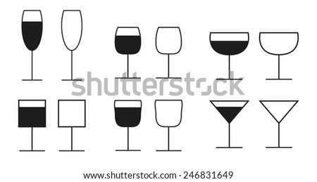 Set of 6 different glasses icons - all with and without drink - stock vector