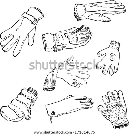 set of different gloves, ink drawing, hand draw vector illustration