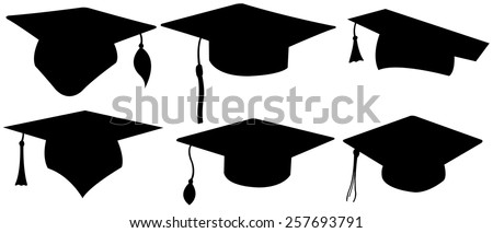 set of different graduation hats - stock vector