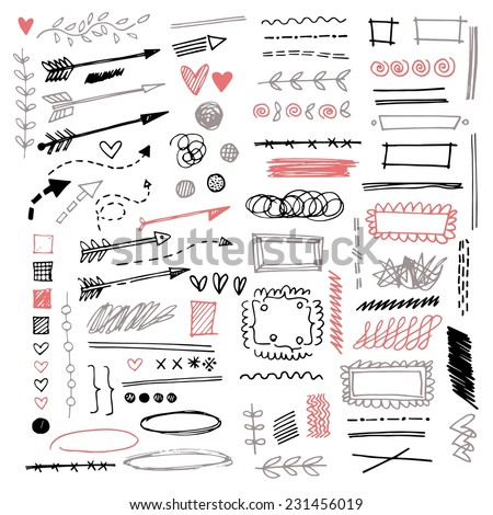Set of different graphic elements in doodle style. Vector hand-drawn elements - arrows and stripes, underscore lines, floral ornament, hearts, separation, strokes and other symbols - stock vector