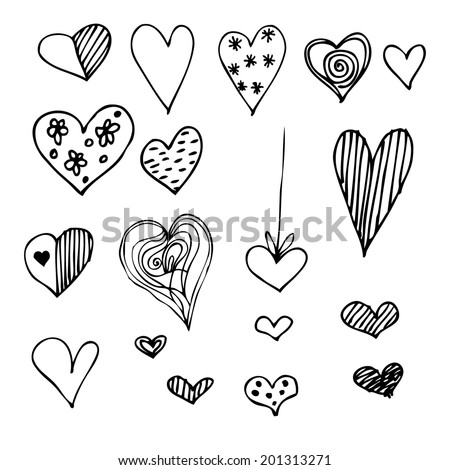 set of different graphic hearts, vector - stock vector