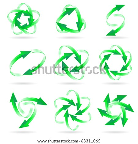 Set of different green arrow circles isolated on the white - stock vector