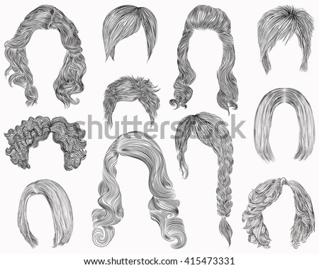 set of  different hairs and hairstyle .fringe curly cascade kare. pencil drawing sketch .