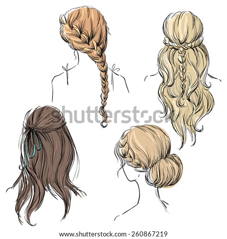 set of different hairstyles. Hand drawn.  - stock vector