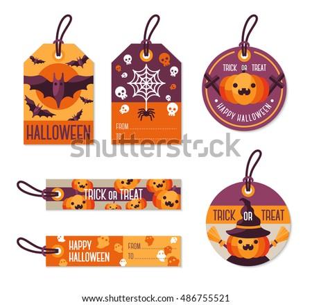 set of different halloween gift tags vector illustration flat holiday symbols orange pumpkin - Halloween Gift Tag