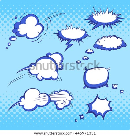 set of different hand drawn bubbles for comics vector illustration in blue colors
