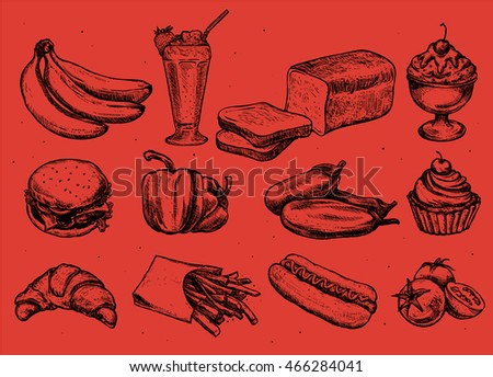 Set of different hand drawn food. Milkshake, ice cream, hamburger, cupcake, french fries, hot dog, bread, tomatoes, bananas, croissant Isolated on red background. Vector illustration in sketch style.