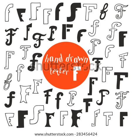 Set Of Different Hand Drawn Letter F Logoemblems Or Icons Design Template Elements