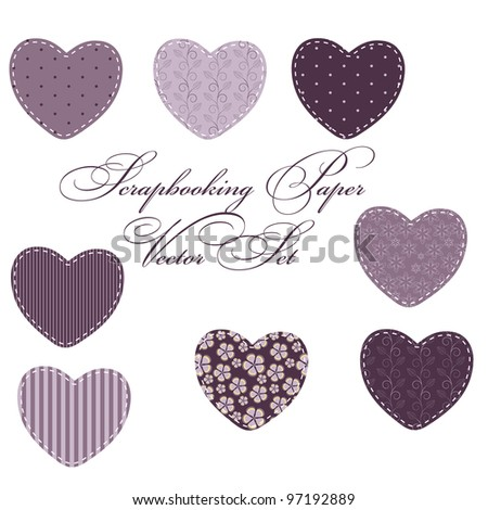set of different hearts, design elements - stock vector