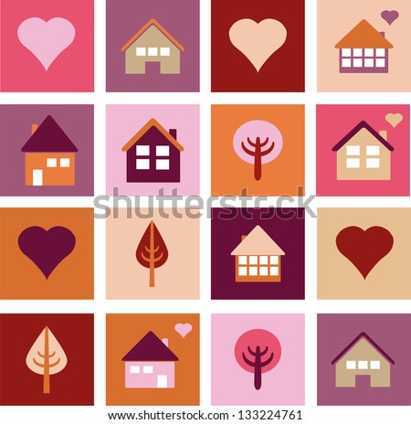 Set of different houses and trees - stock vector