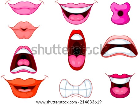 Set of different human mouth and lips - stock vector