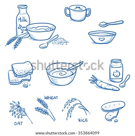 Set of different icons for preparing baby baby food. With milk, bowl, spoon, biscuit, cereals . Hand drawn cartoon vector illustration. - stock vector