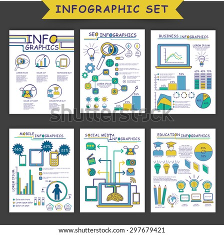 Set of different infographic templates as SEO Infographics, Business Infographics, Mobile Infographics, Social Media Infographics and Education Infographic. - stock vector