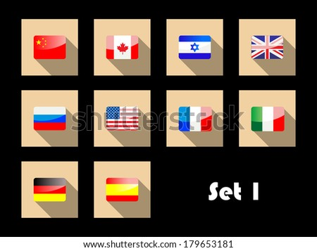 Set of different international country flags on flat icons with Great Britain, France, Canada, United States, Italy, Israel, Spain, Germany, Russia and China