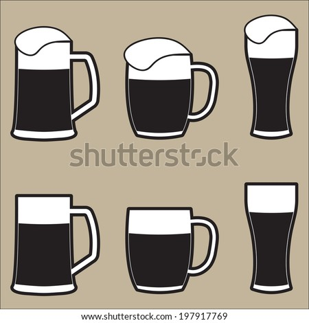 Set of different isolated beer mugs and glass with foam. Vector drink icon.  - stock vector