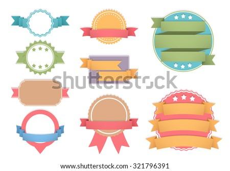 Set of different labels with ribbons, vector eps10 illustration - stock vector