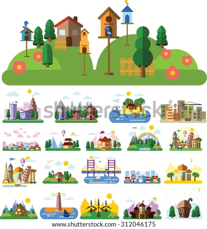 Set of different landscapes in the flat style - urban, rural, country, fabulous, city, mountain, travel and seascape  - stock vector