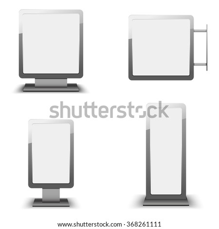 Set of different light boxes. Blank panel light boxes. vector light box templates on white background. - stock vector