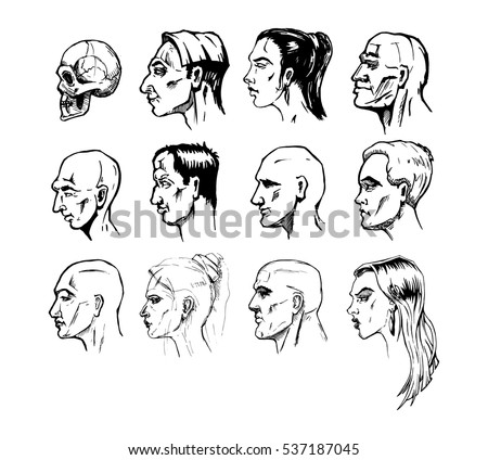 Male face profile drawing