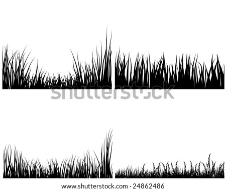 Set of different meadow vector grass silhouettes - stock vector