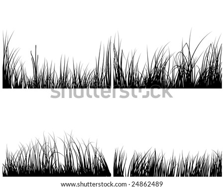 Set of different meadow vector grass silhouettes