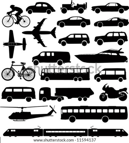 Set of different means of transportation. - stock vector