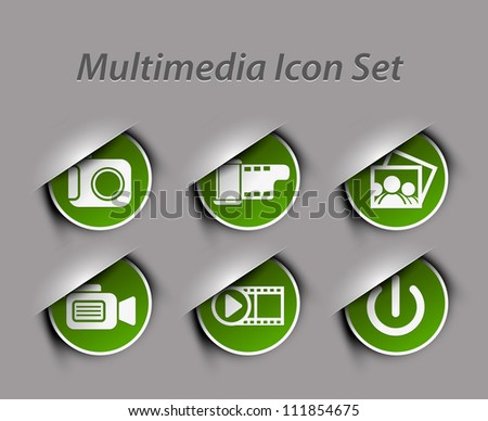 Set of different Media Icons graphics for web design - stock vector