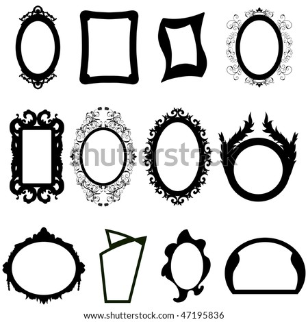 Set of different modern and ancient mirrors silhouettes. Vector illustration. - stock vector