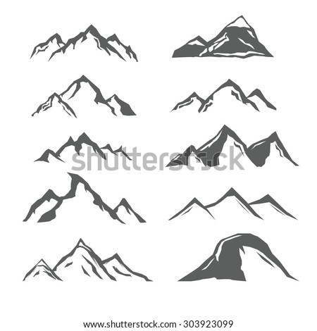 Set of different monochrome mountains, mountain icons, labels, badges, design elements. Vector