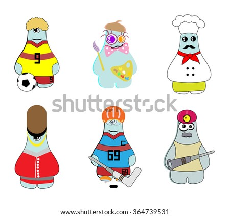 Set of different monsters representing various professions  - stock vector